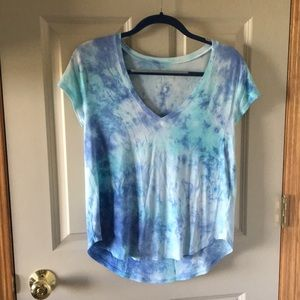 blue tie dye american eagle shirt